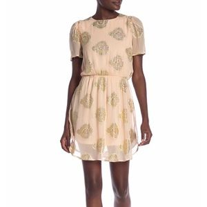 NSR Ruffle Peach Gold Mini Dress